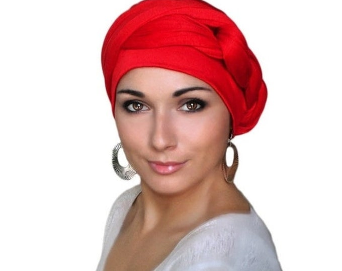 RETIREMENT SALE Save 50% Turban Diva Red Turban Dreads Wrap, Jersey Knit Head Wrap, Chemo Hat, Boho  One Piece Wrap, Fitted
