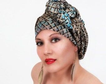 RETIREMENT SALE Turquoise Gold Basketweave Turban Dreads Wrap, Head Wrap, Alopecia Scarf, Chemo Hat, Boho Tribal, One Piece Fitted Wrap, Cot