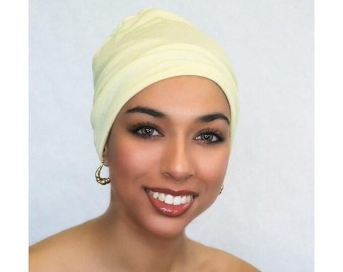 RETIREMENT SALE Save 50% Lemon Sparkle Chemo Hat, Sleep Hat, Alopecia Cap, Cloche, Scarf Liner, Slouch Hat, Rayon Knit, Pretied Turban