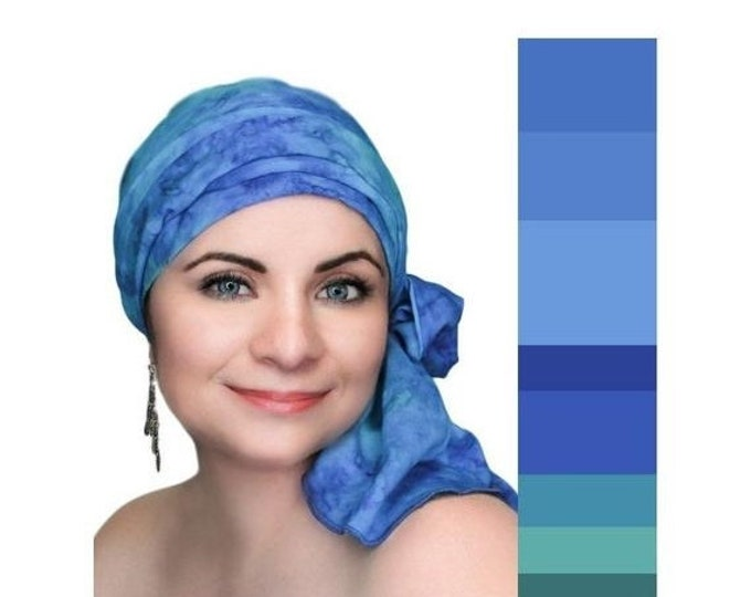 ON SALE Save 30% Turban Diva Purple Blue Turquoise Turban Chemo Hat, Head Wrap, , Boho, Pretied Turban, Chemo Turban, Hat & Scarf Set