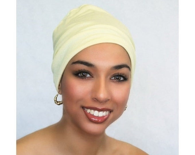 ON SALE Save 25% Lemon Sparkle Chemo Hat, Sleep Hat, Alopecia Cap, Cloche, Scarf Liner, Slouch Hat, Rayon Knit, Pretied Turban