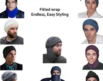 ON SALE Save 30% Men's Turban, Man's Navy Blue Turban,Man's Head Wrap, Dreads Wrap, Ski Hat, Motorcycle Scarf, Tactical Scarf