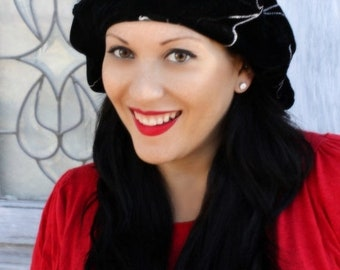 ON SALE Save 40% Floral Embroidered Beret, Chemo Hat, French Beret, Large Beret, Slouchy Hat, Boho, Gypsy, Black