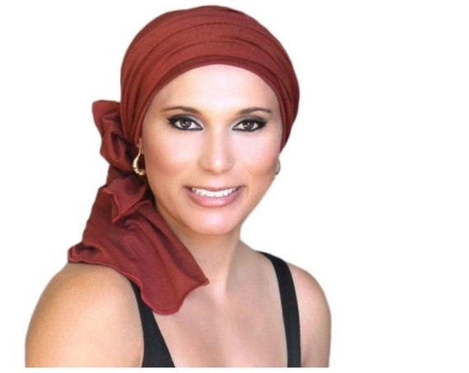 ON SALE Save 30% Turban Diva Rust Brick Red Turban Head Wrap Alopecia Head Scarf Chemo Hat, Jersey Knit Hat & Scarf Set