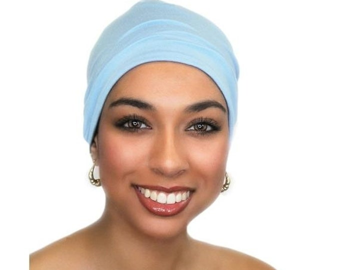 ON SALE Save 25% Sky Blue Chemo Hat, Sleep Hat, Alopecia Cap, Scarf Liner, Slouch Hat, Pretied Turban