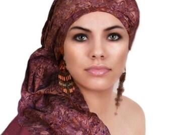 RETIREMENT SALE Turban Diva Rust Purple Turban Dreads Wrap, Chemo Hat, Boho, One Piece Wrap, Fitted Turban