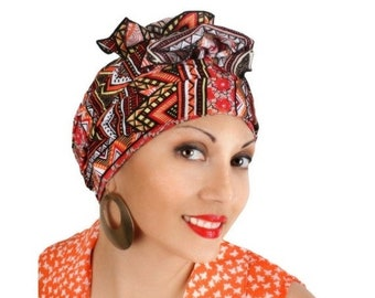 ON SALE Save 30% Aztec Tribal Head Wrap Turban Chemo , Orange Red Black Yellow Coral, Hat & Scarf Set