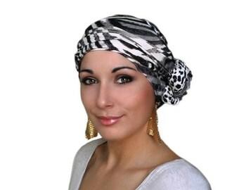 RETIREMENT SALE Safari, Animal Print Turban Head Wrap, Dreads, Alopecia Scarf, Chemo Hat, Boho Gypsy Tribal, Jersey knit,  Head Scarf, Leopa