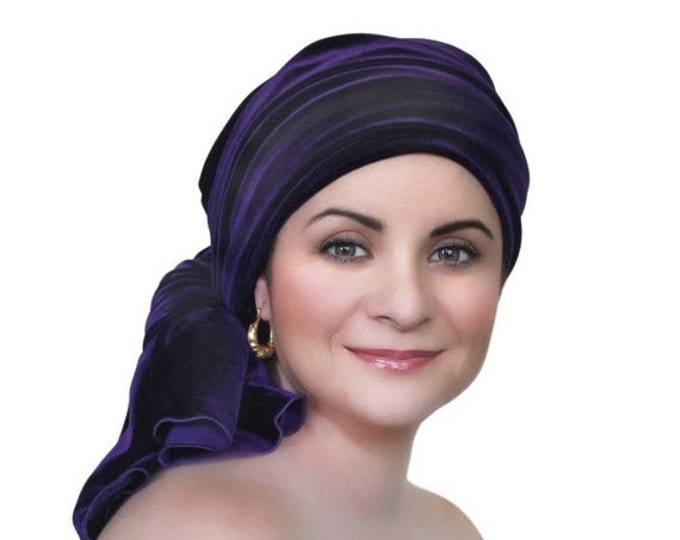 ON SALE Save 30% Turban Diva Purple Velvet Turban, Head Wrap, Chemo Hat, Alopecia Scarf, Hat & Scarf Set