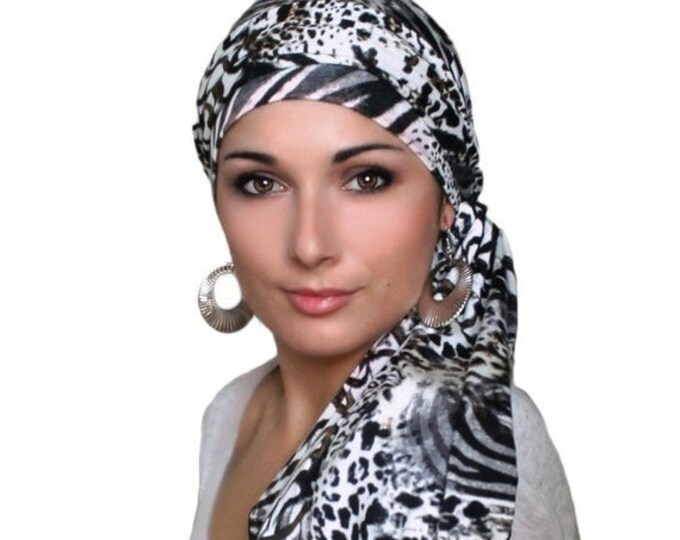 ON SALE Save 30% Turban Diva Safari Animal Print Turban, Jersey Knit Hat & Scarf Set, Head Wrap, Alopecia Head Scarf, Chemo Hat, Leopard, Ze
