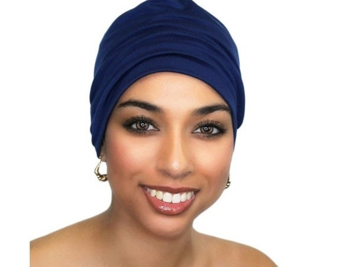ON SALE Save 25% Navy Blue Chemo Hat, Casual Hat, Volumizer, Sleep Hat Alopecia Cap,Scarf Liner Slouch Hat, Pretied Turban