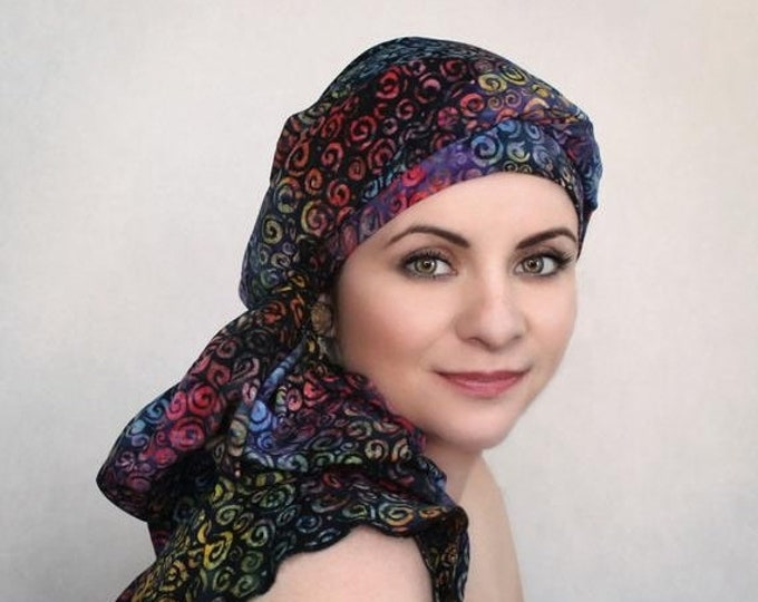 ON SALE Save 30% Rainbow Swirl Turban Dreads Wrap, Purple Blue Head Wrap, Alopecia Scarf, Chemo Hat, Boho Gypsy Tribal, One Piece Fitted Wra