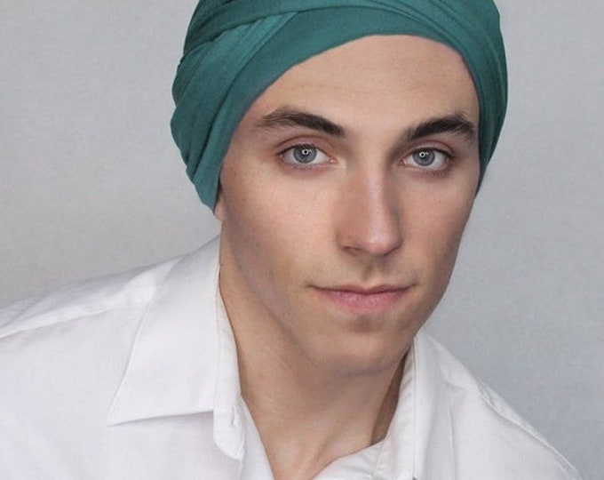 RETIREMENT SALE Man's Teal Turban, Man's Head Wrap, Dreads Wrap, Ski Hat, Motorcycle Scarf, Gifts for Men, Tactical Scarf