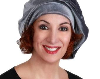 ON SALE Save 40% Oversize 13 inch Beret, Gray Velvet Beret, French Beret, Large Beret, Slouchy Hat, Chemo Hat, Alopecia Hat, Boho