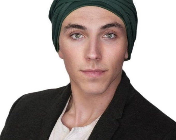 ON SALE Save 30% Men's Turban, Man's Head Wrap, Dreads Wrap, Ski Hat, Motorcycle Scarf, Man's Green Turban, Forest Green, Dark Green Turban,