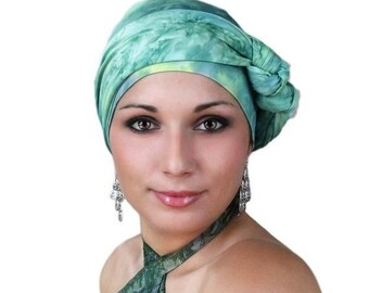 RETIREMENT SALE Save 50% Turban Diva Jade Marble Turban Jersey Knit Hat and Scarf Set, Head Wrap, Alopecia Head Scarf, Chemo Hat. Cancer hat