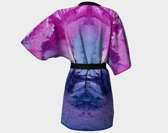 Kimono Robe, Dressing Gown, Lounge Wear, Pink, Purple, Abstract, Boho, Catherine Pattern