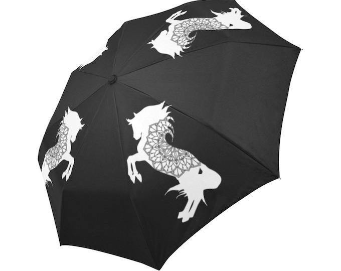 Automatic Open/Close Umbrella, Rearing Horse Mandala, Black and White