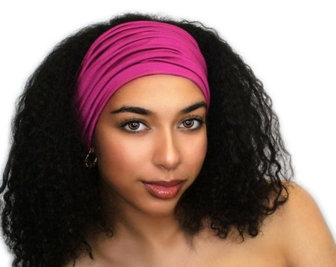 RETIREMENT SALE Fuchsia Turban Head Band, Yoga headband, Wide Headband, Exercise Headband, Pretied Turban, Hot Pink