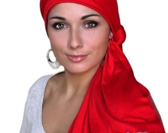ON SALE Save 30% Turban Diva Red Turban Head Wrap Alopecia Head Scarf Chemo Hat, Jersey Knit Hat & Scarf Set