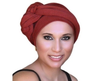ON SALE Save 30% Rust Turban, Terra Cotta Turban, Jersey Knit Head Wrap,  Chemo Hat, , One Piece Wrap, Fitted
