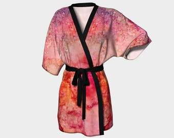 Kimono Robe, Dressing Gown, Orange, Coral, Pink, Purple, Lounge Wear, Boho, Carol Pattern