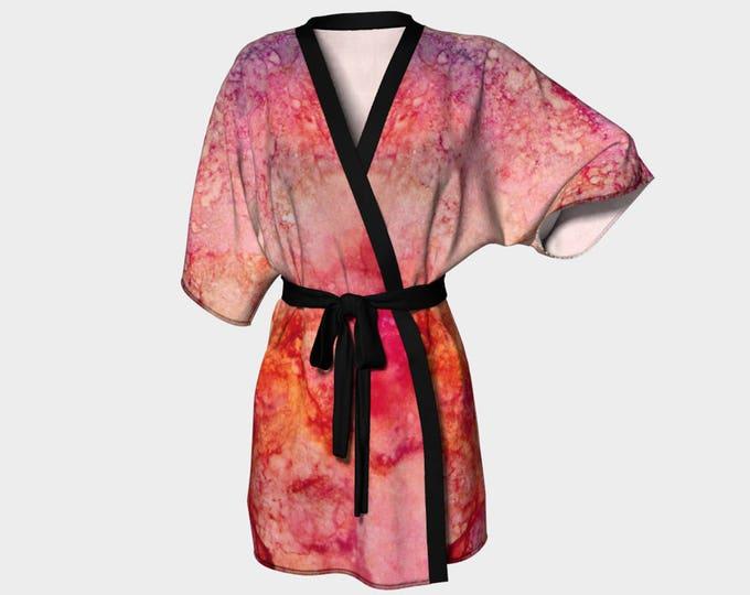 Kimono Robe, Dressing Gown, Orange, Coral, Pink, Purple, Lounge Wear, Boho, Carol Pattern