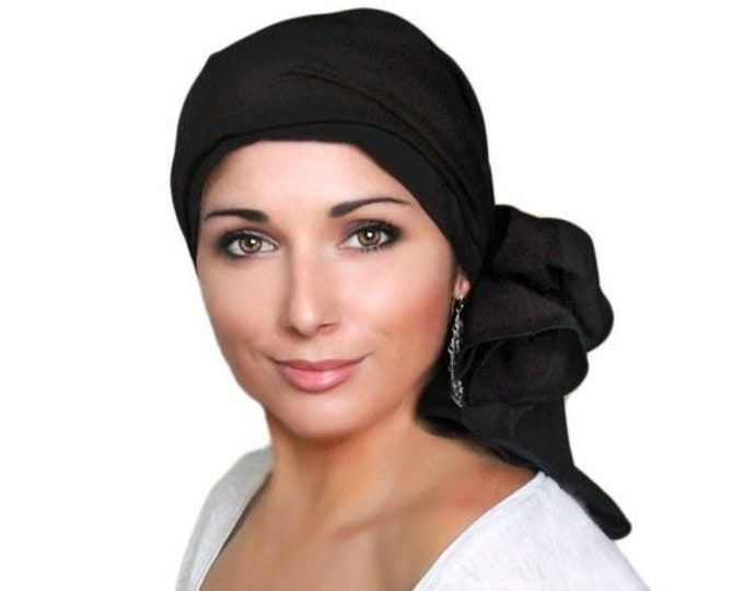ON SALE Save 30% Turban Diva Black Turban, Black Head Wrap, Chemo Hat, Hat & Scarf Set, Rayon Challis, Gift for Her
