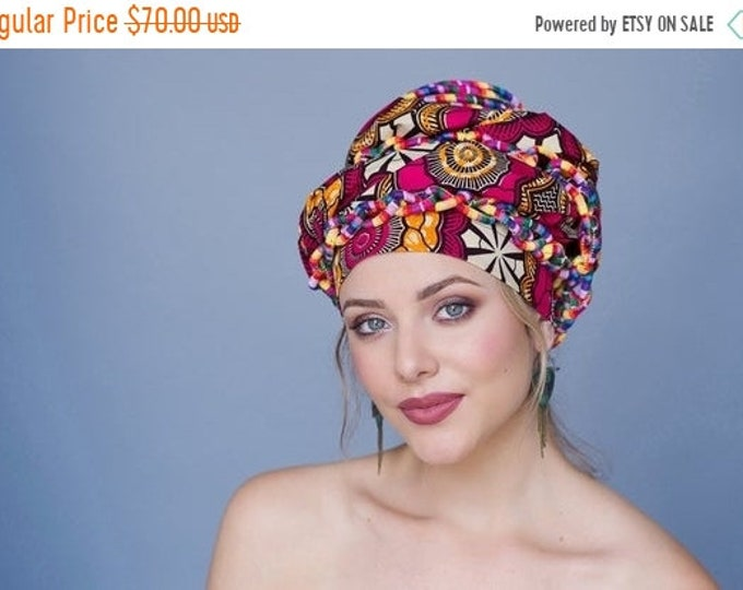 RETIREMENT SALE Turban Diva African Wax Print Turban Dreads Wrap, Red Gold Black Head Wrap, Alopecia Scarf, Chemo Hat, BohoTribal, One Piece