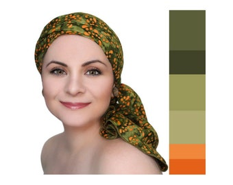 Olive Green Orange Chemo Turban, Batik Head Wrap, Alopecia Scarf, Chemo Hat, Cancer Hat & Scarf Set by Turban Diva, Gift for Cancer Survivor