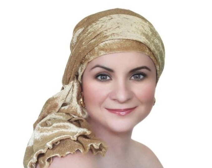 RETIREMENT SALE Save 50% Turban Diva Gold Velvet Turban, Head Wrap, Chemo Hat, Alopecia Scarf, Hat & Scarf Set
