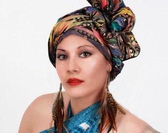 RETIREMENT SALE Turban, Chemo Hat, Dreads Wrap, Head Wrap, Alopecia Scarf,  Boho Gypsy Tribal, Aztec Rainbow, One Piece Fitted Wrap, Cotton