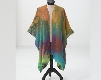 Sheer Kimono, Chiffon Wrap, Firefall Pattern, Orange, Teal, Turquoise, Green, Blue, Pink