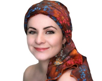 ON SALE Save 30% Forest Floral Batik Turban Hat Chemo Hat, Head Wrap  Boho, Rust Cinnamon Purple Pink Blue, Hat & Scarf Set by Turban Diva
