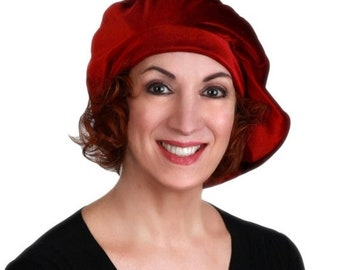 RETIREMENT SALE Oversize 13 inch Beret, Velvet Beret, Chemo Hat, Burgundy Wine, French Beret, Large Beret, Slouchy Hat,Alopecia Hat, Boho