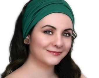 RETIREMENT SALE Turban Head Band, Yoga headband, Wide Headband, Exercise Headband, Emerald Green, Forest Green
