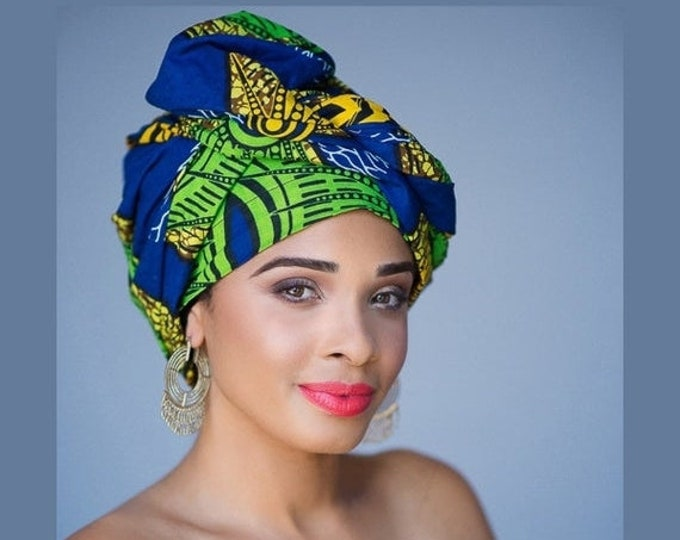 RETIREMENT SALE African Wax Print Turban Dreads Wrap, Green Blue Gold Black Head Wrap, Alopecia Scarf, Chemo Hat, Boho Gypsy Tribal, One Pie