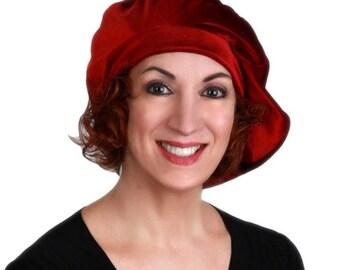 ON SALE Save 40% Oversize 13 inch Beret, Velvet Beret, Chemo Hat, Burgundy Wine, French Beret, Large Beret, Slouchy Hat,Alopecia Hat, Boho