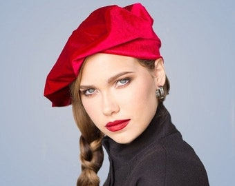 ON SALE Save 40% Oversize 13 inch Beret, Red Velvet Beret, French Beret, Large Beret, Slouchy Hat, Chemo Hat, Alopecia Hat, gift