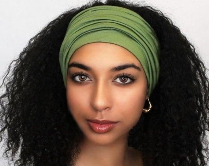 ON SALE Save 25% Olive Green Turban Head Band, Yoga headband, Wide Headband, Pretied Turban, Chemo Hat 299-31a