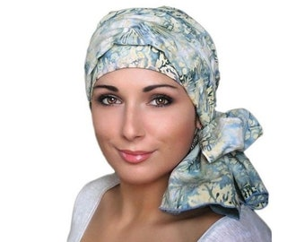 ON SALE Save 30% Denim and Lace Batik Floral Turban Hat Set, Blue, Yellow, Creme, Alopecia Scarf, Chemo Hat, Hat & Scarf Set