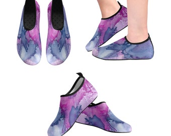 Yoga Shoes, Barefoot Shoes, Women's Shoes, Kids Shoes, Flat Shoes, Slip-ons, Casual Shoes, Purple, Pink, Artsy Shoes