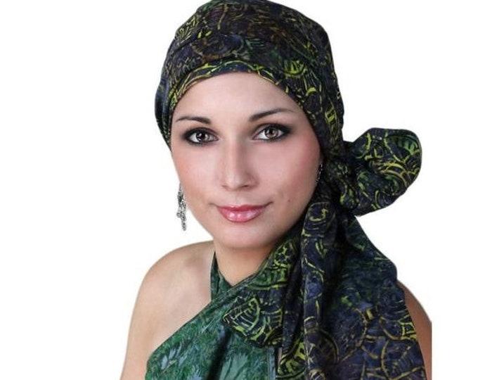 RETIREMENT SALE Turban Diva Mystic GreenTurban, Chemo Hat,Head Wrap, Alopecia Scarf, Batik Boho, Chemo Turban, Hat & Scarf Set