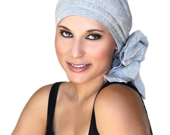 ON SALE Save 30% Chemo Hat, Turban, Head Wrap, Gray Turban, Jersey Knit Hat & Scarf Set, Light Gray Heather, Alopecia Head Scarf