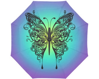 Automatic Open/Close Umbrella, Butterfly, Mandala, Fuchsia, Gold, Purple, Chakra