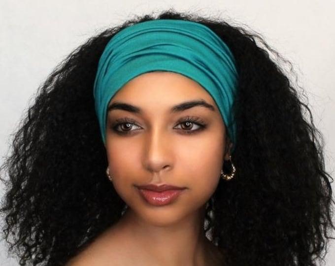 RETIREMENT SALE Turquoise Turban Head Band, Yoga headband, Wide Headband, Pretied Turban, Exercise Headband, Emerald Teal