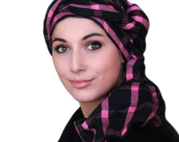 RETIREMENT SALE Turban Diva Pink Black Plaid Turban Head Wrap, Chemo Hat, One Piece Wrap, Fitted Turban