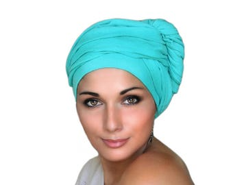 Jade Cotton Turban, Head Wrap, Chemo Hat, Head Wrap, Cotton Gauze, Alopecia Scarf, Turquoise Turban, Boho, Gypsy, One Piece Fitted Wrap