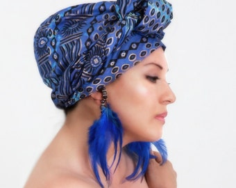Tribal Sun Blue Gold Turban Dreads Wrap, Head Wrap, Alopecia Scarf, Chemo Hat, Boho Gypsy Tribal, One Piece Fitted Wrap, Cotton Turban