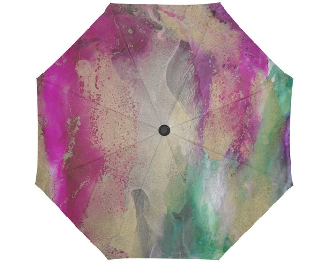 Automatic Open/Close Umbrella, Gift, Pink, Green, Gold, Abstract